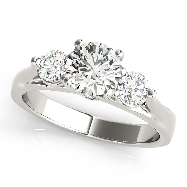 Unique Round Cut Diamond Engagement Ring with Three Stone Design