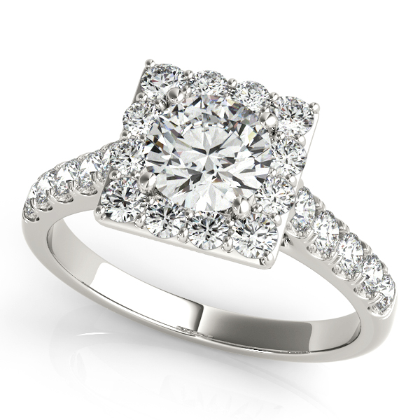 Avant-Garde Square Halo Engagement Ring Diamond Side Stones