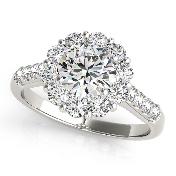 Floral Halo Engagement Ring Fashionable Diamond Side Stones