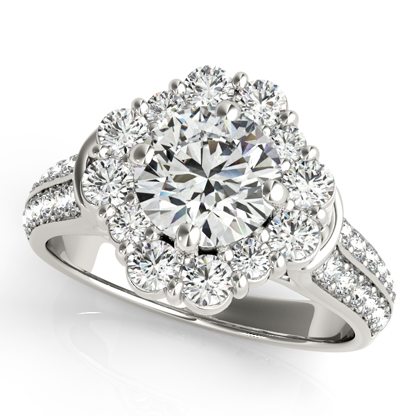 Exceptional Halo Engagement Ring with Two Rows of Side Stones