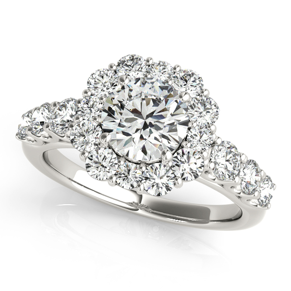 One Carat Floral Halo Side Stone Diamond Engagement Ring
