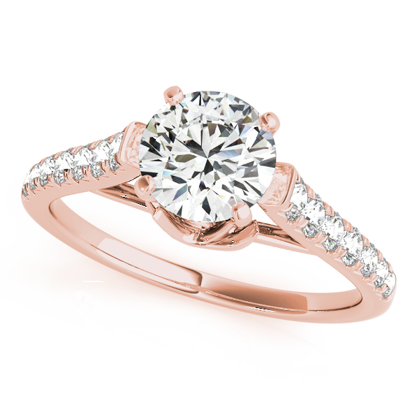 Avant-Garde Round Cut Engagement Ring Diamond Side Stones