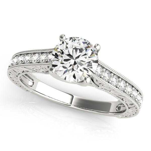 Exclusive Trellis Vintage Diamond Engagement Ring White Gold