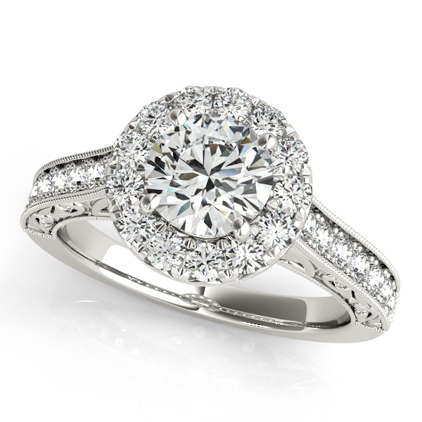 Designer Diamond Halo Engagement Ring Vintage Filigree Shank