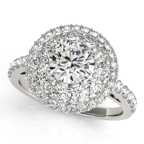 Unprecedented Halo Side Stone Round Cut Engagement Ring
