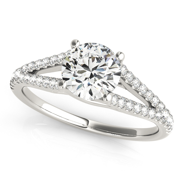 Modernized Split Shank Side Stone Diamond Engagement Ring
