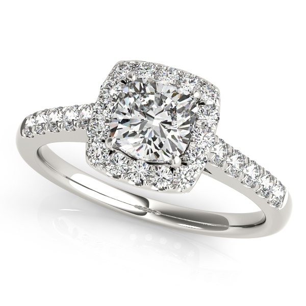 Elegant Cushion Cut Square Halo Diamond Engagement Ring