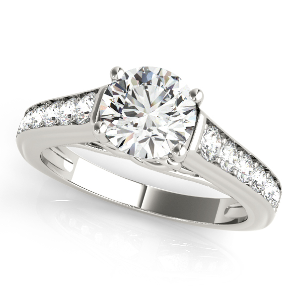 Classy Side Stone Engagement Ring with Heart Shank Design