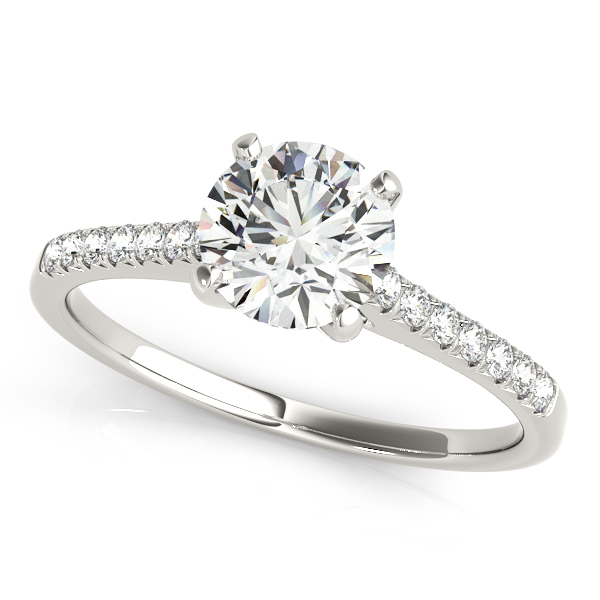 Thin Shank Side Stone Round Cut Diamond Engagement Ring