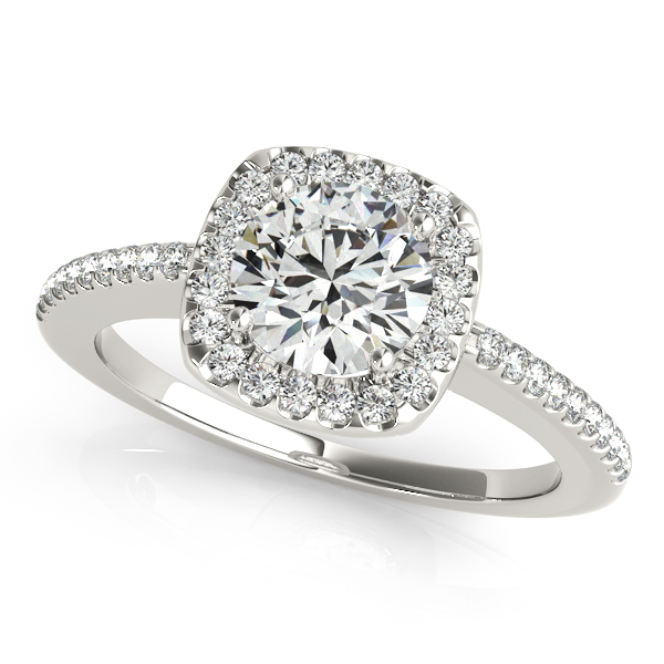 Chic Side Stone Engagement Ring Square Halo Round Diamond