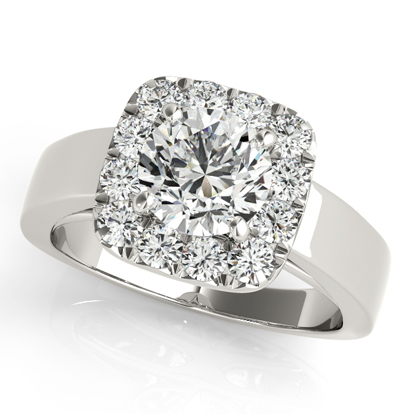 Chic Halo Engagement Ring in Bridge Shank without Side Stones
