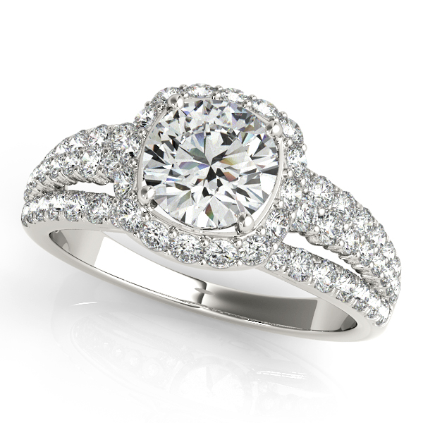Gorgeous Three Row Multi-Side Stone Halo Engagement Ring