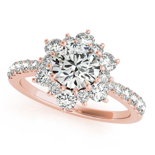 Incomparable Floral Side Stone Halo Diamond Engagement Ring