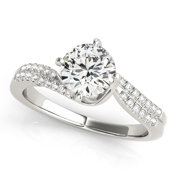 Duet Side Stone Bypass Diamond Engagement Ring Prong Setting