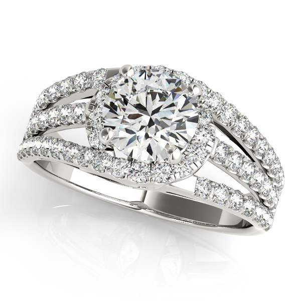 Modern Side Stone Diamond Engagement Ring with Split Shank