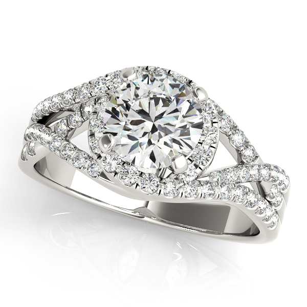 Present Day Split Shank Two Tone Side Stone Engagement Ring