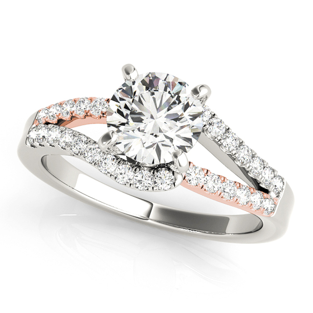 modern split curved shank bypass side stone engagement ring