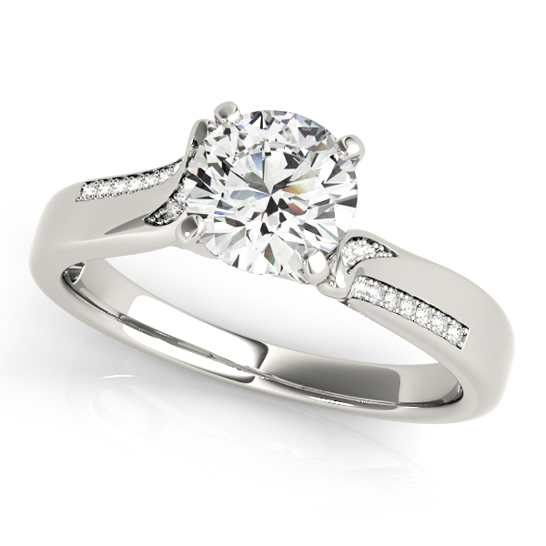 Italian Design Diamond Engagement Ring with Accents