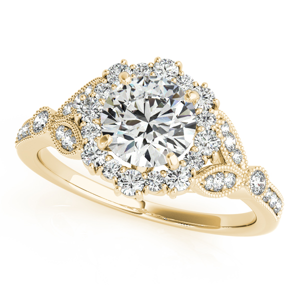 Luxury Vintage Halo Diamond Engagement Ring with Milgrain Edges