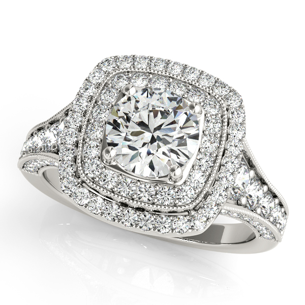 Upscale Vintage Halo Engagement Ring Beautiful Filigree
