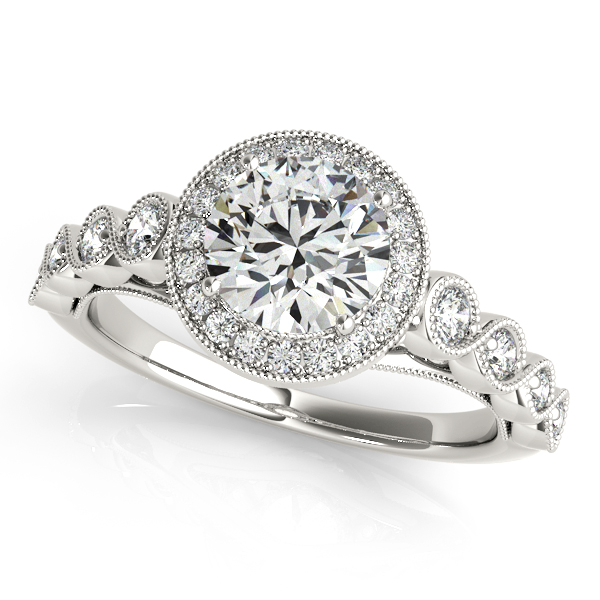 Magnificent Vintage Filigree Diamond Halo Engagement Ring