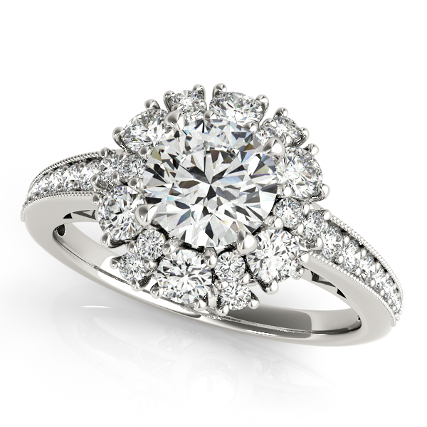 Fine Halo Engagement Ring with Unique Filigree & Prong Set Side Stones
