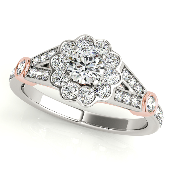 Bezel Accent Diamond Halo Engagement Ring with Side Stones