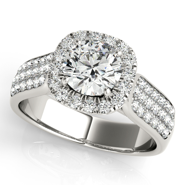 Three Row Multi-Side Stone Diamond Pave & Accent Halo Engagement Ring