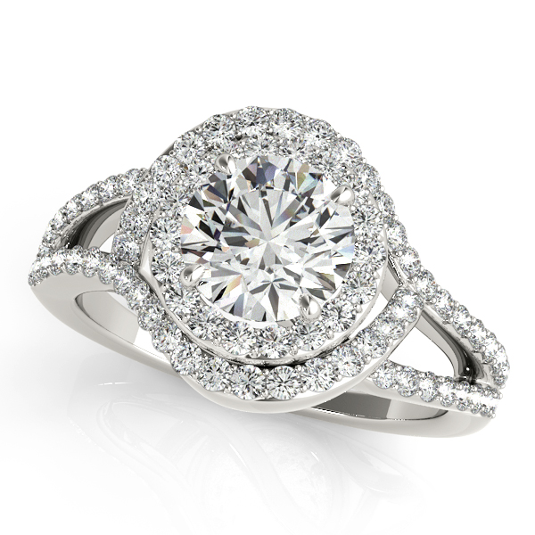 Magnificent Halo Engagement Ring with Split & Curved Shank
