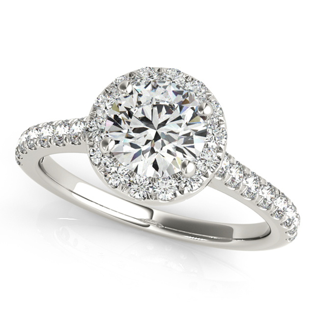 Elegant Halo Diamond Engagement Ring Bezel Diamond Accents
