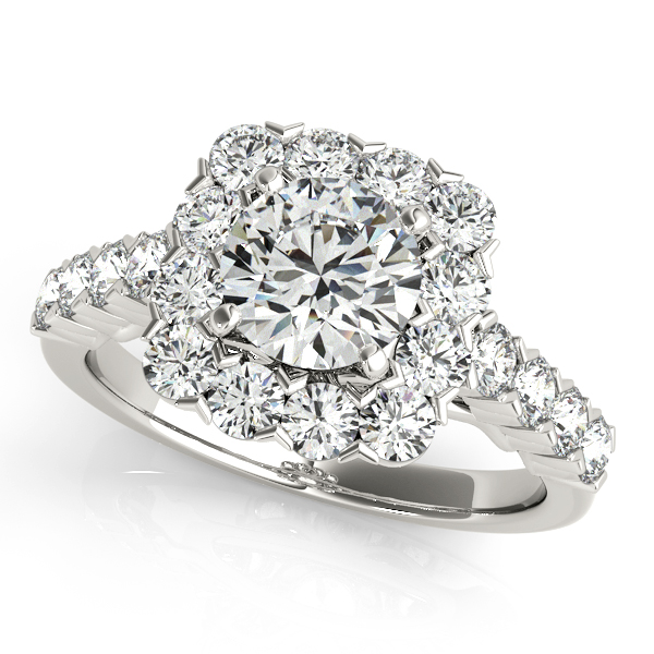 Contemporary Split Shank Floral Halo Diamond Engagement Ring
