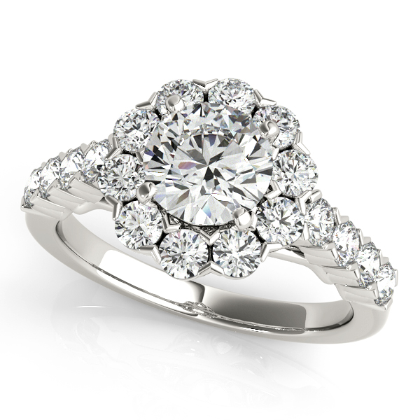 One Carat Floral Halo Diamond Engagement Ring Round Cut