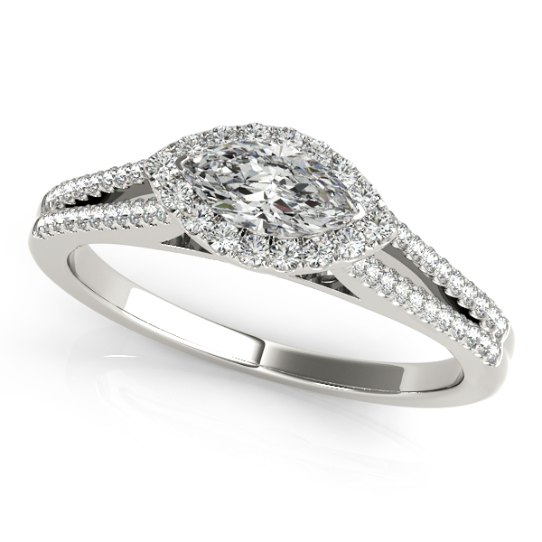 Gorgeous Split Shank Marquise Engagement Ring with Side Stones