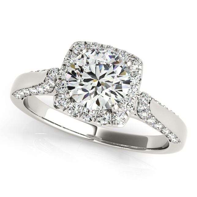 side stone diamond halo engagement ring