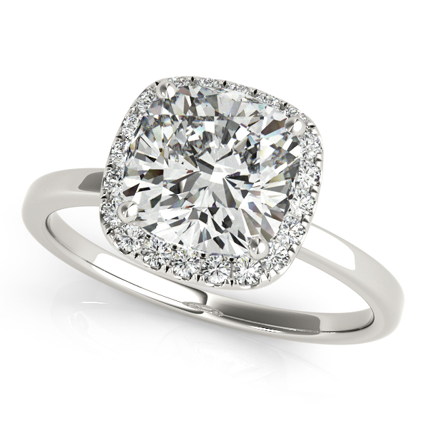 Magnificent Cushion Cut Diamond Halo Engagement Ring