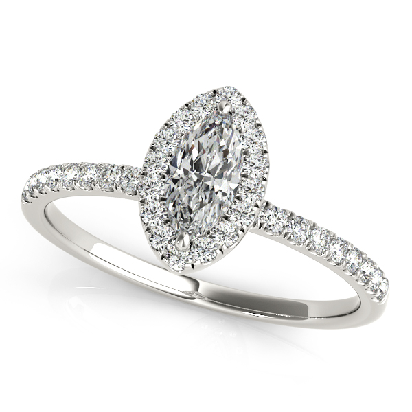 Classic Marquise Side Stone Diamond Engagement Ring