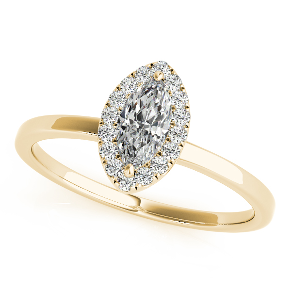 Attractive Halo Engagement Ring Marquise & Round Cut Diamonds