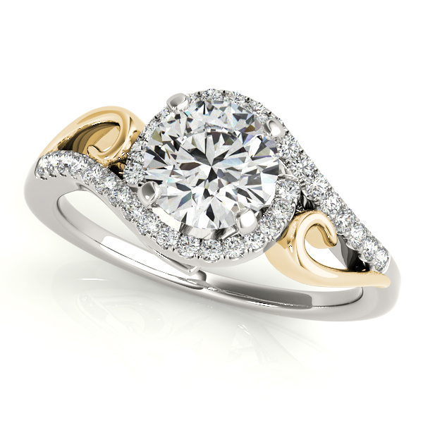 Inventive Two Tone Halo Diamond Engagement Ring Split Shank