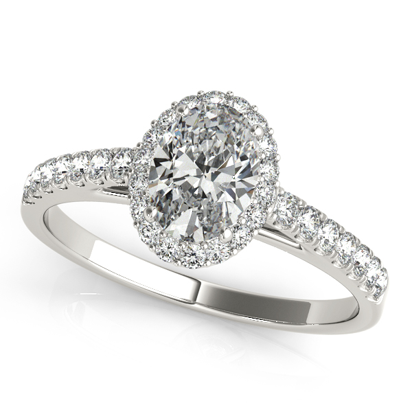 Elegant Oval Cut Halo Engagement Ring with Diamond Side Stones