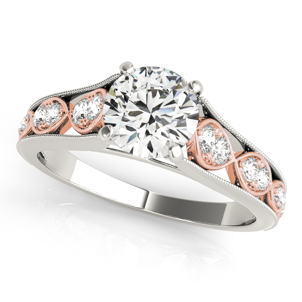Infinity Engagement Ring Side Stone Diamonds Two Tone Shank