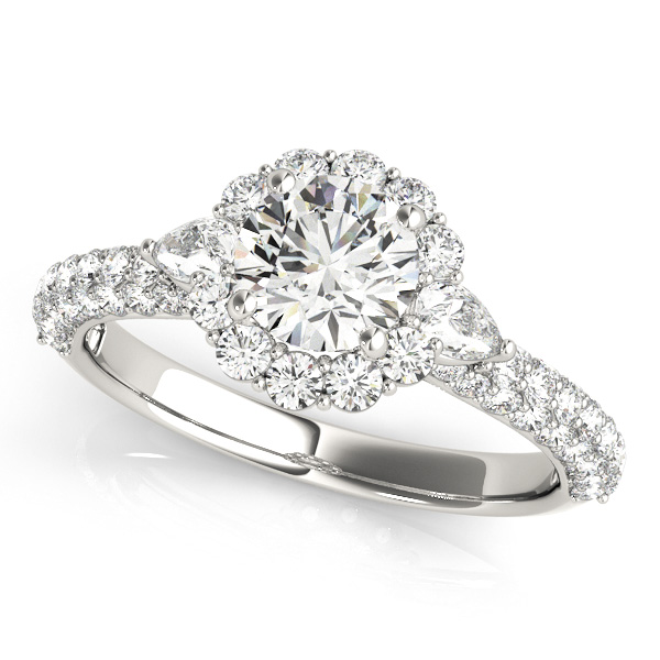 Attractive Floral Halo Engagement Ring with Pear Diamond Accents