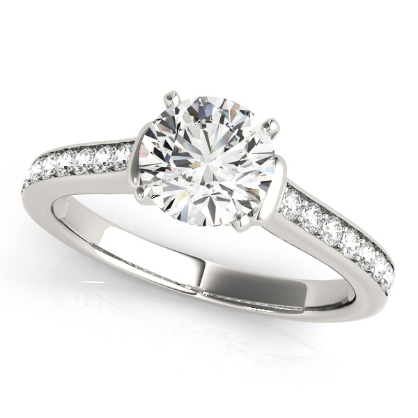 Bezel Accent Engagement Ring Round Cut Diamond Side Stones