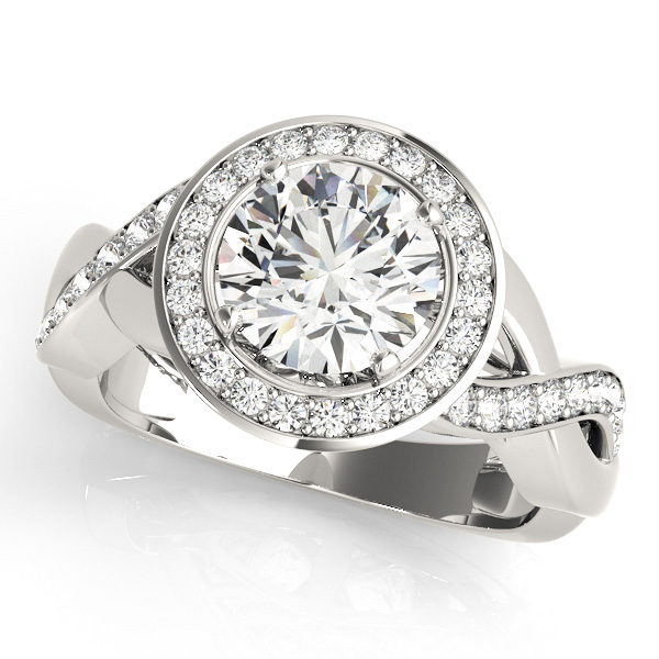 Halo Engagement Ring Cathedral Diamond Setting Twisted Shank