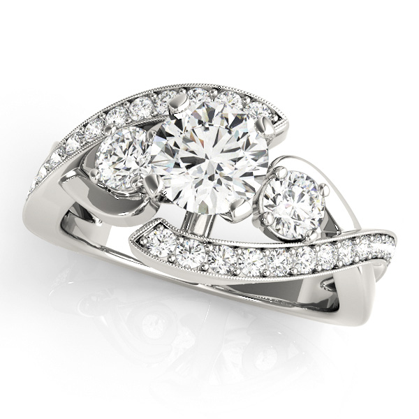 Pretty Three Stone Engagement Ring Side Stone Diamond Bypass