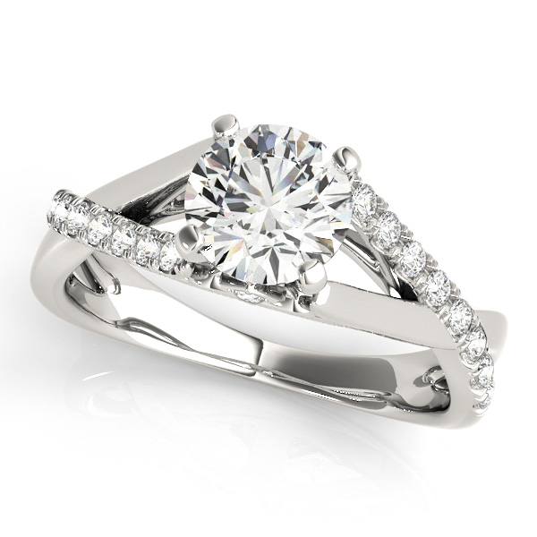 Exclusive Infinity Side Stone Round Diamond Engagement Ring