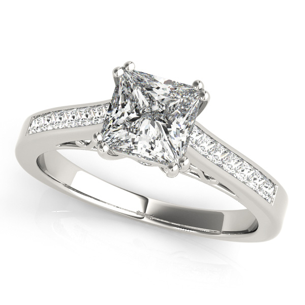 Present-Day Princess Cut Side Stone Diamond Engagement Ring