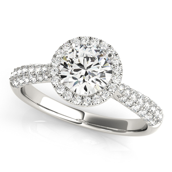 Traditional Halo Engagement Ring Vintage Cathedral Setting