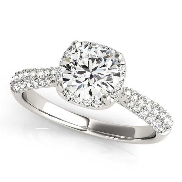 Gorgeous Cathedral Halo Engagement Ring Diamond Side Stones