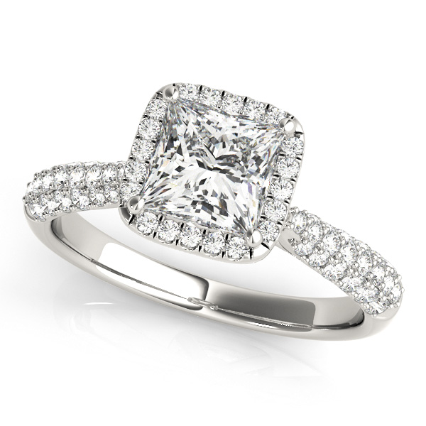 Stylish Princess Cut Halo Engagement Ring Pave Side Stones