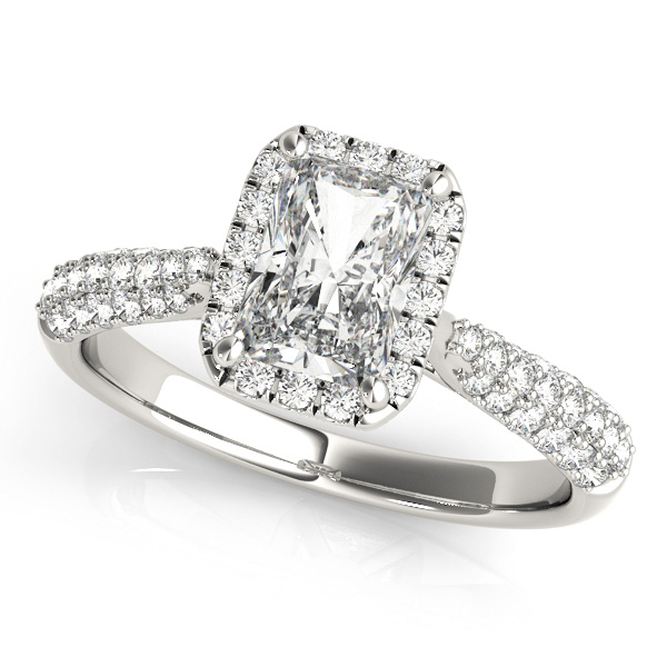 Emerald Cut Engagement Ring with Diamond Halo & Pave Setting